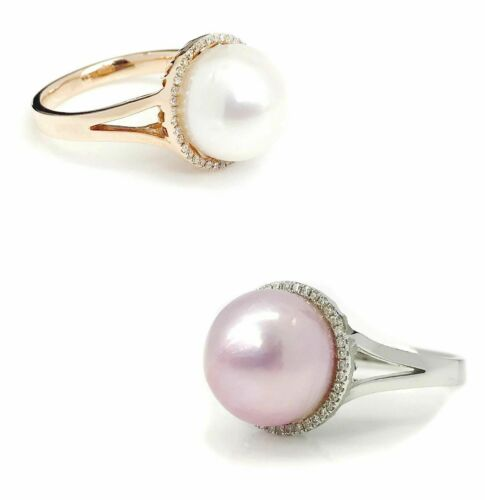 11 mm Pearl (Pink/White )Diamond Halo Ring 14K Gold (White/Rose)