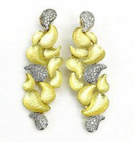 1.36 Carats t.w. Diamond Dangle Earrings 18 Karat Yellow Gold 2.75 Inch Italian