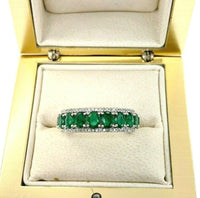 Fine 1.84 Carats t.w. Diamond and Emerald Anniversary Ring May Birthstone 14K