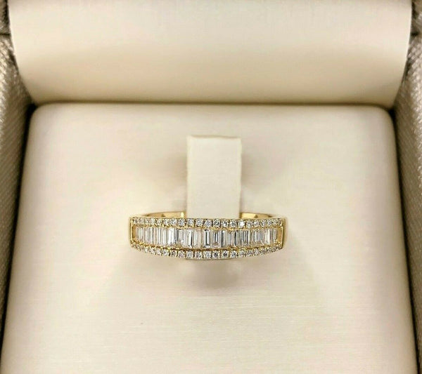 0.50 Carats Round & Baguette Diamond Anniversary Ring Wedding Band Yellow Gold