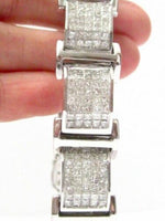 20.00Ct Men's Princess Cut Diamond Bracelet Invisible Set G-H VS2/SI1 14k W Gold