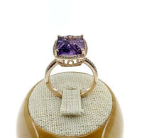 Fine 5.17 Carats t.w. Diamond and Amethyst Celebration Halo Ring 14K Rose Gold