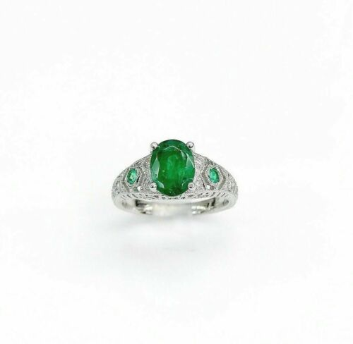1.92 Carats tw Diamond and Emerald Art Deco Ring Emeralds are 1.72 Cts Platinum