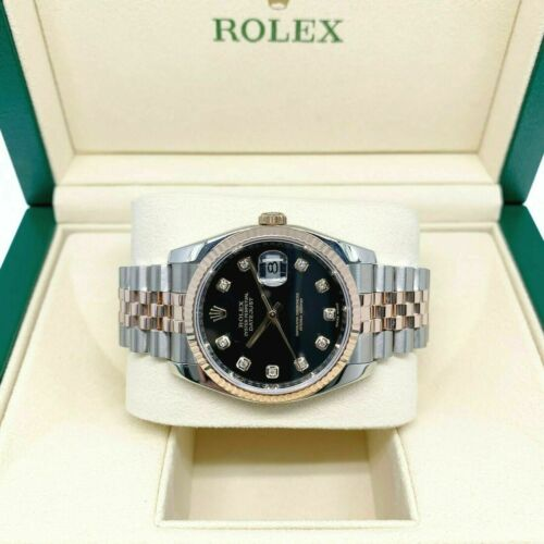 Rolex 36MM Datejust Diamond Watch 18K Rose Gold Stainless Steel Ref 116231