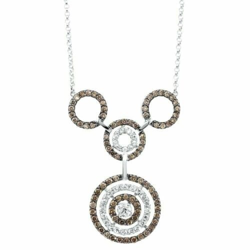 2.70 Carats Mocha Coffee and White Diamond Necklace 14K White Gold w 14K Chain