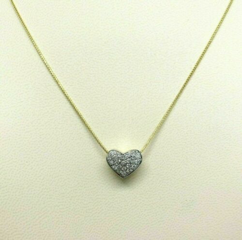 0.45 Carats Micro Pave Diamond Heart Pendant 14K Yellow Gold w 14K Chain