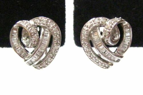 .60 TCW Baguette & Round Cut Diamonds Heart Shape Huggie Earrings 18k White Gold