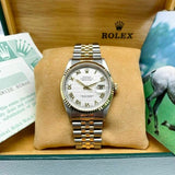 Rolex 36MM Datejust Watch 18K Yellow Gold Stainless Steel Ref 16233 Box & Papers