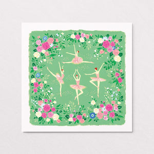 elegant dancing ballerinas in the floral forest art print