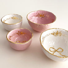 Load image into Gallery viewer, luxury handmade hand-built pottery with genuine gold. golden floral ribbon bowls