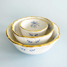 Load image into Gallery viewer, luxury baby angels, cherubs illustration blue bowls with real 24k gold. this beautiful gold rim tablewares are handmade.