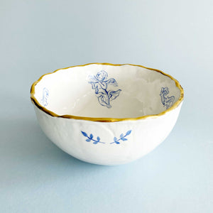 luxury baby angels, cherubs illustration blue bowls with real 24k gold. this beautiful gold rim tablewares are handmade.