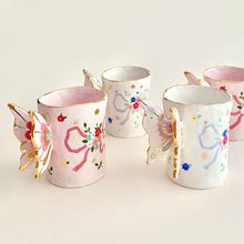Load image into Gallery viewer, This butterfly wings mugs are very elegant, delicate and unique. handmade and hand-painted gold luster pottery and ceramics.