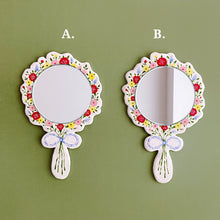 Load image into Gallery viewer, vivid flower bouquet inspired handmade ceramic vanity hand mirror and hair comb