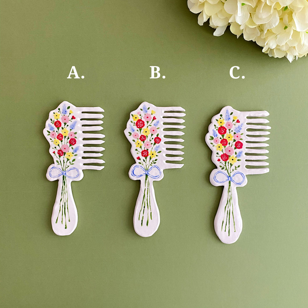 vivid flower bouquet inspired handmade ceramic vanity hand mirror and hair comb