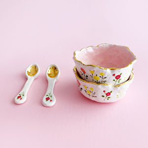 hand-built lovely ice cream bowl and spoon pottery ceramics