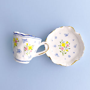 cute and unique handmade pottery ceramic tea ware, coffee cup and saucer