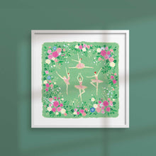 Load image into Gallery viewer, elegant dancing ballerinas in the floral forest art print