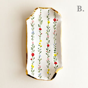botanical floral illustration of handmade pottery with gold