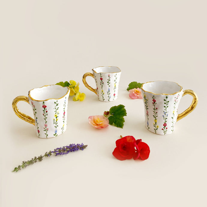 hand-built and hand painted botanical illustration coffee cup with real gold