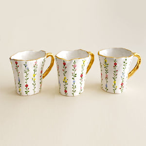 hand-built and hand painted botanical illustration coffee cups with real gold, handmade ceramics and pottery
