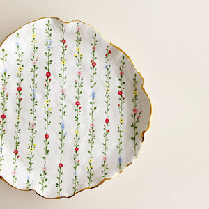 handmade organic shaped floral pottery ceramic plates