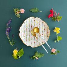 Load image into Gallery viewer, organic shaped handmade floral gold plate