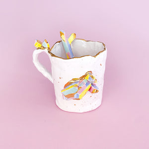 luxury gemstone and gold handmade mugs and sugar cellars