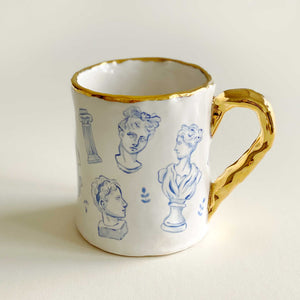 greek statue illustration mug with 24k gold