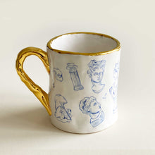Load image into Gallery viewer, greek statue illustration mug with 24k gold