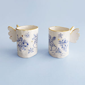 unique and beautiful angel's wings mug with real gold
