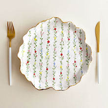 Load image into Gallery viewer, organic shaped handmade hand-built hand painted floral pottery and ceramic plate