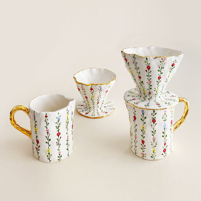 handmade ceramic, floral vines botanical inspired pour-over coffee maker and jug set with gold rim