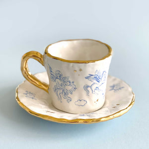 handmade 24k gold baby angels illustration cup and saucer