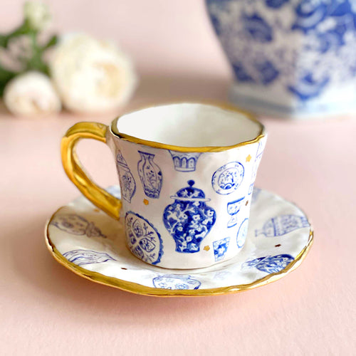 oriental styled jars design handmade cup and saucer