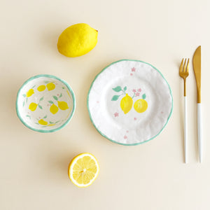 cute hand-painted pottery lemon plate and bowl