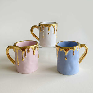 (limited)23.5k overflowing gold mug -Lavender Color