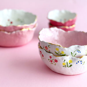 lovely handmade pottery floral gold rim bowls
