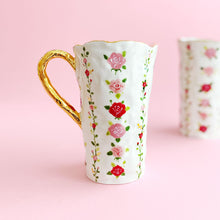 Load image into Gallery viewer, handmade hand-built pottery luxury rose venti mug with 24k gold