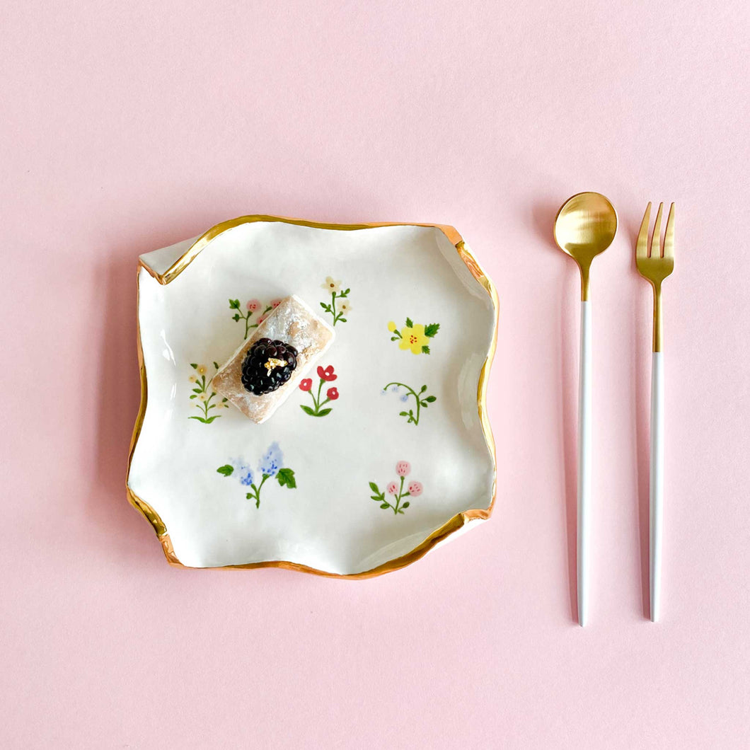 handmade and hand-painted spring flowers square plate with real gold