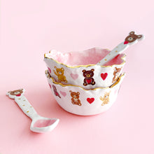 Load image into Gallery viewer, adorable pink bowls and spoon set with teddy bear illustration with gold luster.