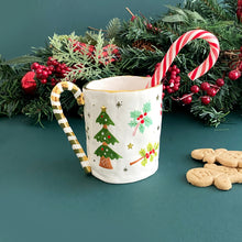 Load image into Gallery viewer, unique candy cane handle mug with real gold decoration. this is handmade and hand-painted pottery