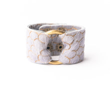 Load image into Gallery viewer, Scalloped in Gray Leather Cuff - 2 sizes