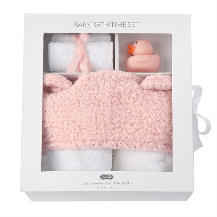 Baby Bath Time 5 piece Gift Set - Available in Pink & Blue