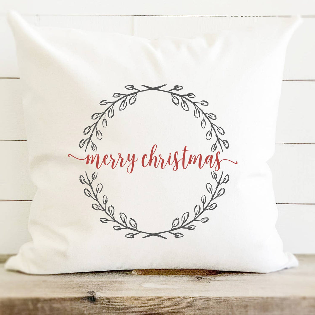 Merry Christmas Wreath - Cotton Canvas Pillow
