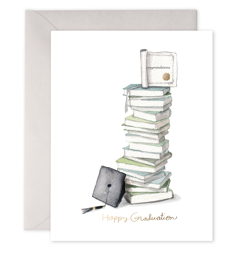 Grad Book Stack Graduation Greeting Card