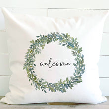 Load image into Gallery viewer, Welcome Boxwood Wreath Pillow