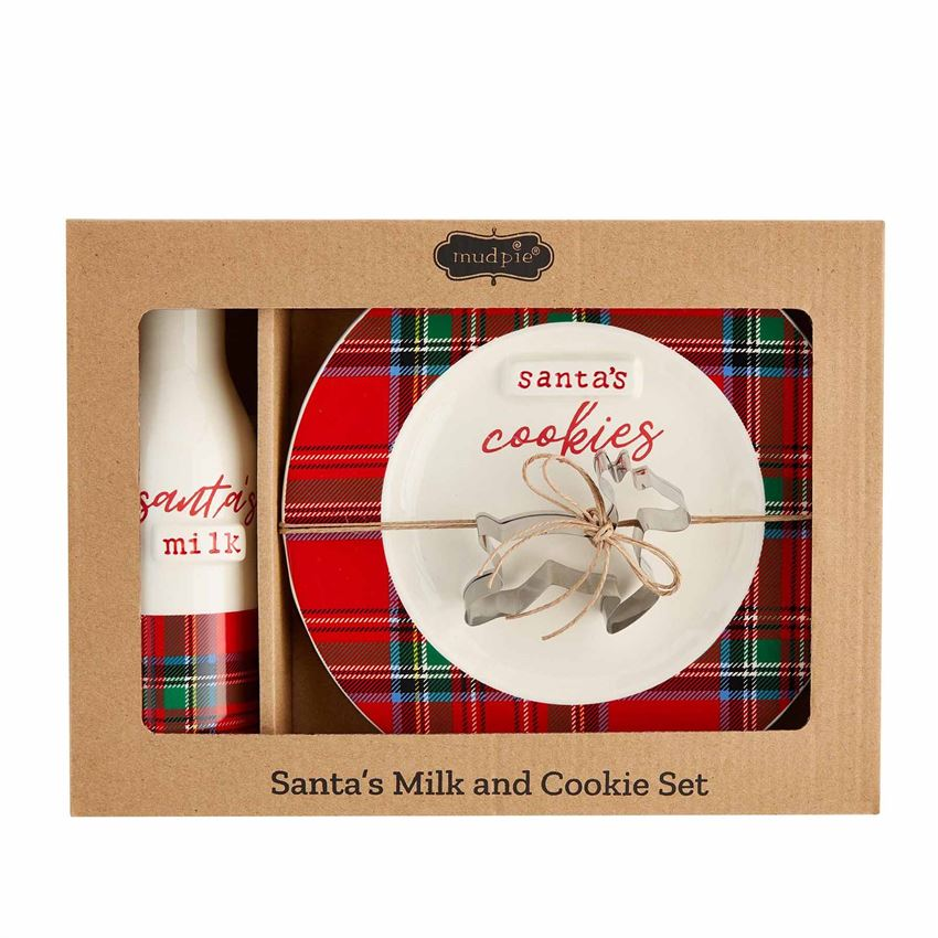 Tartan Plaid Milk & Cookies Gift Set