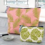 Load image into Gallery viewer, Palm Fronds Pink Relaxed Large Canvas Pouch