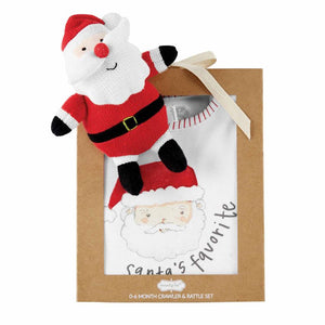 Santa Baby Bodysuit & Rattle Set